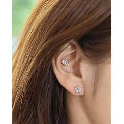 Miss21 Korea - Flower / Heart / Ball Ear Stud Set (14 PCS)