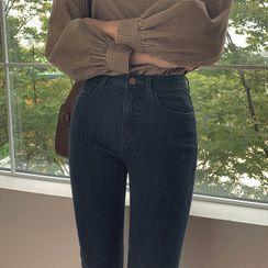 CHERRYKOKO - Fleece-Lined Slim-Fit Jeans