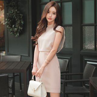 Hasu - 短袖小高领迷你塑身连衣裙