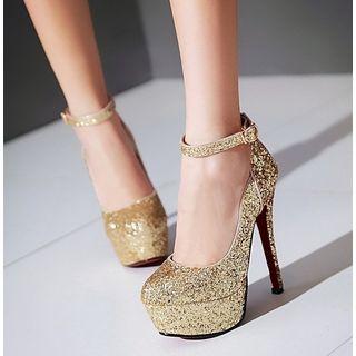 Freesia - 亮片厚底高跟鞋