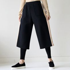 Lemite - Inset Leggings Wide Crop Pants