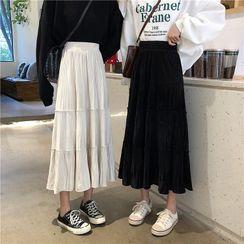 MIKIGA - Elastic Waist Tiered Pleated Skirt