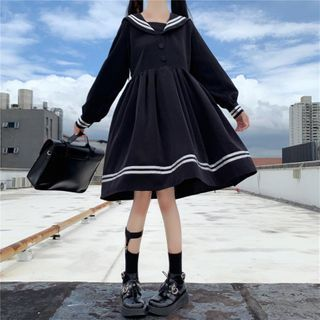 Clotizen - 中袖水手領A字連衣裙