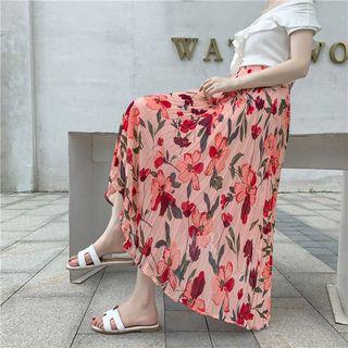 Onespark - Flower Print Accordion Pleat Midi Chiffon Skirt