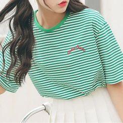 Ashlee - Striped Elbow-Sleeve T-Shirt