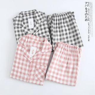MelMount - 家居服套装: 长袖格子上衣 + 裤子
