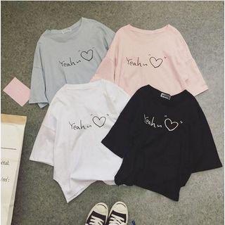 Carmenta - 3/4-Sleeve Lettering Heart Print T-Shirt