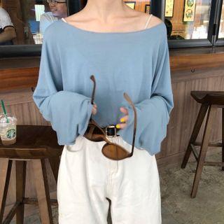 ZENME - One-Shoulder Long-Sleeve T-Shirt