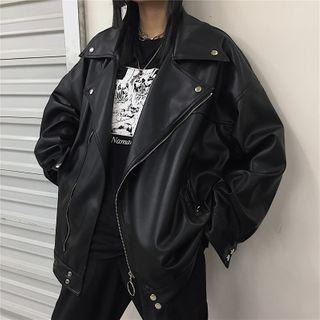 Koiyua - Faux Leather Biker Jacket
