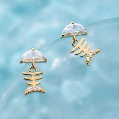 A'ROCH - 925 Sterling Silver Rhinestone Fish Bone Dangle Earring