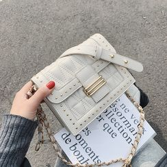 Skyglow - Faux Leather Flap Crossbody Bag