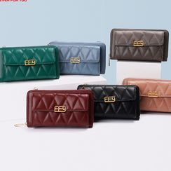 Dionysus - Quilted Faux Leather Long Wallet