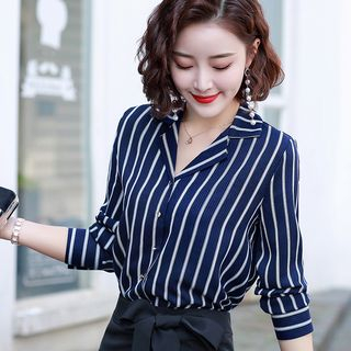 Daybreak - Striped Long-Sleeve Chiffon Blouse