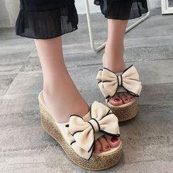 Weiya - Bow Slide Platform Wedge Sandals