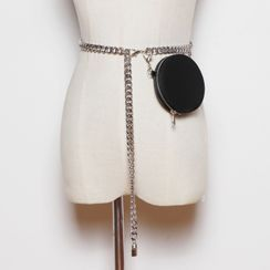 Beltalicious - Genuine Leather Round Chained Belt Bag
