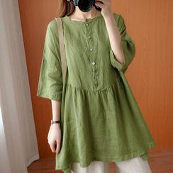 RAIN DEER(レインディーア) - Plain Semi-Sleeve Medium Long Shirt