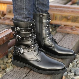 Kayne H - Faux Leather Studded Strap Mid-Calf Boots