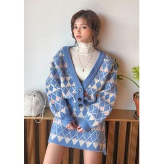 chuu - Cardigan & Miniskirt Argyle Knit Set