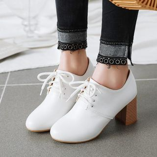 Shoes Galore(シューズガロア) - Block Heel Lace-Up Shoes