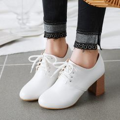 Shoes Galore - Block Heel Lace-Up Shoes