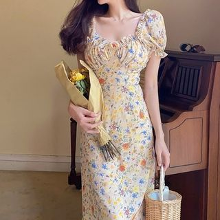 Windflower - Floral Print Chiffon Dress