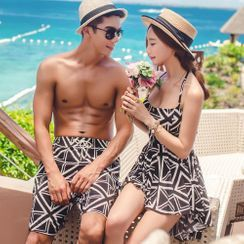 MALILA - Couple Matching Printed Halter-Neck Swimdress / Bikini Bottom / Swim Shorts / Swim Trunks / Set