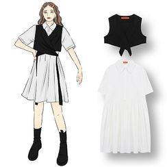Demain - Collared Short-Sleeve Midi A-Line Dress / Strappy Cropped Vest