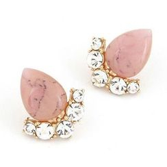 Bling Thing - Cat's Eye Stone Rhinestone Stud Earrings