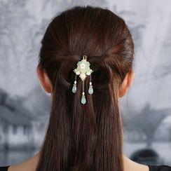 Gangnam - Retro Glaze Flower Pearl Hair Clip