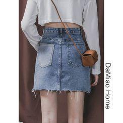 Damiao - Colorblock High-Waist Denim Mini Skirt