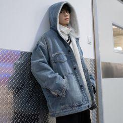 emeisa - Fleece-Lined Denim Hooded Buttoned Jacket