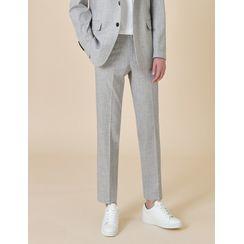STYLEMAN - Cropped Straight-Cut Mélange Dress Pants
