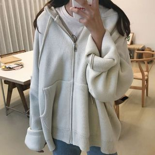 Ashlee - Hooded Zip Knit Cardigan