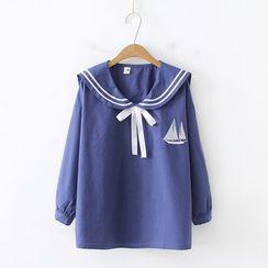 PANDAGO - 帆船刺繡水手領襯衫