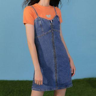Heynew - Zip-Front Sleeveless Denim Dress