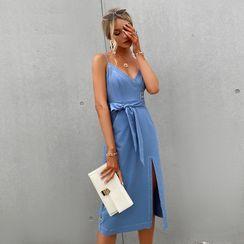 Simplee - Spaghetti Strap Tie-Waist A-Line Dress