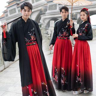 Tangier - Couple Matching Embroidered Chinese Traidtional Hanfu Costume / Long Light Jacket