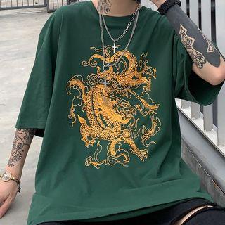 Banash(バナッシュ) - Dragon Print Elbow-Sleeve T-Shirt