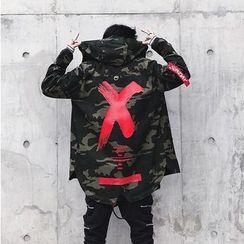POSI - Lettering Camo Zip Hooded Jacket
