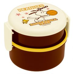 Skater - SNOOPY Round Food Box 500ml (with Fork) (Sports/Basketball)