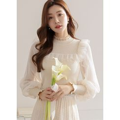 Styleonme - Tulle-Sleeve Frilled Knit Top