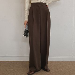 MERONGSHOP - Pleated High-Waist Wide-Leg Pants