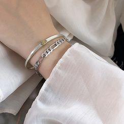 Assisi - 925 Sterling Silver Hoop Link Bracelet / Smiley Face Bangle