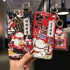 Maykrix - Fortune Cat Print Hand Strap Phone Case - iPhone 11 Pro Max / 11 Pro / 11 / SE / XS Max / XS / XR / X / SE 2 / 8 / 8 Plus / 7 / 7 Plus