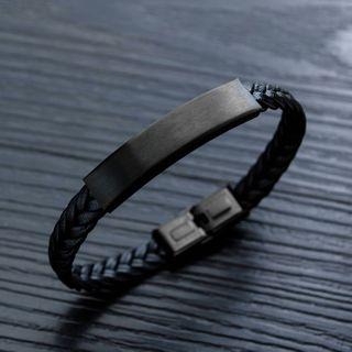 Tenri - Stainless Steel Bar Braided Leather Bracelet