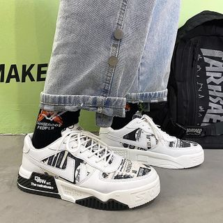 Tanzanite - Print Panel Platform Lace-Up Sneakers