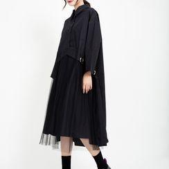 Ultra Modern - Mesh Panel Long-Sleeve Midi Collared Dress