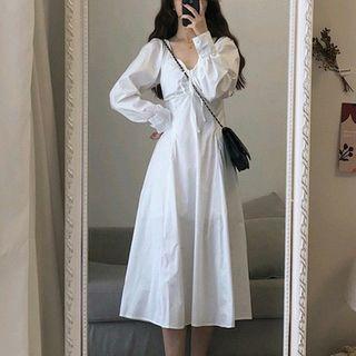 MARION(マリオン) - Long Sleeve V Neck Dress