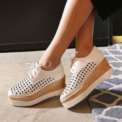 JY Shoes - Perforated Lace-Up Platform Shoes