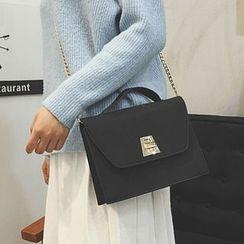 Clair Fashion - 韩版复古磨金属扣手提包錬条斜跨侧背包
